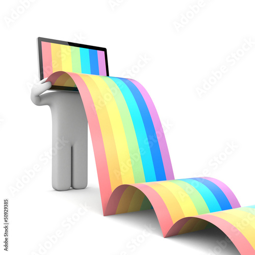 TV head with rainbow