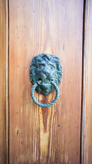 Vertical wooden door with knocker
