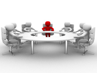 3D man sitting at a round table and having business meeting