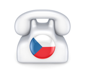 Retro telephone with czechian flag.