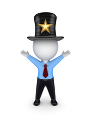 3d small person in top-hat with star symbol.