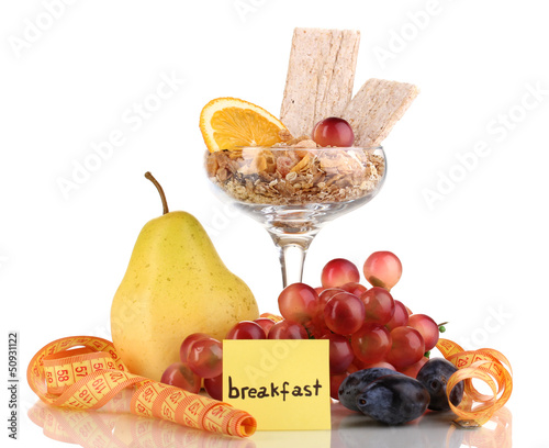 Dietary foods for breakfast isolated on white
