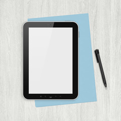 Blank digital tablet on a white desk