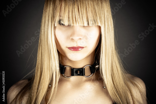 portrait of sexy woman with neck collar