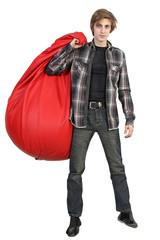 Caucasian young man with bean bag