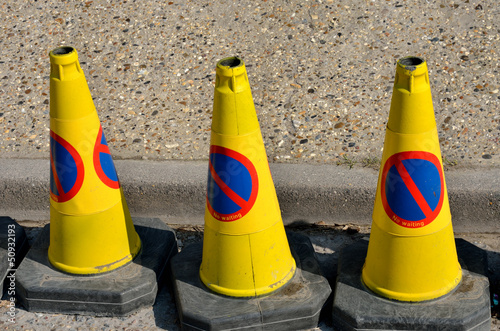 Three no parking cones