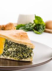 Torta pasqualina - Salt cake, closeup, selective focus