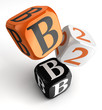b2b orange black dice blocks