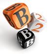b2b orange black dice blocks