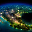 Leinwandbild Motiv Night Earth. A piece of North America - Mexico