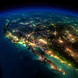 Night Earth. A piece of North America - Mexico and the western U