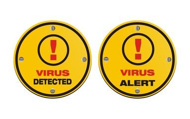virus alert, virus detected - circle signs