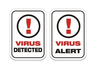 virus alert, virus detected - alert signs