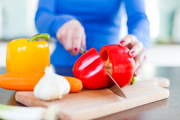 Chopping Vegetables in the Kitchen