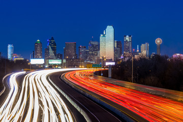 Dallas downtown skyline at night