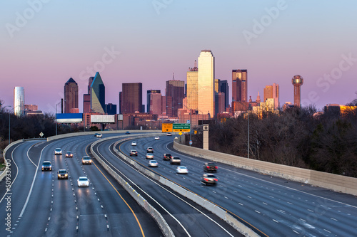 Dallas downtown skyline in the evening