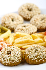Falafel with french fries and vegetables
