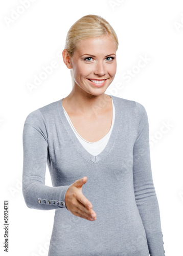 Girl hand shake gesturing, isolated on white