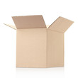 Open cardboard box on white, clipping path