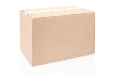 Cardboard box with tape on white, clipping path included