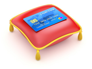 Red pillow with credit card