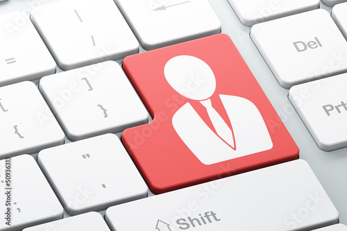 News concept: Business Man on computer keyboard background