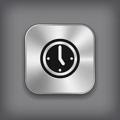 Clock icon - vector metal app button