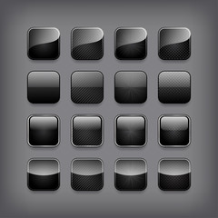 Set of blank black buttons