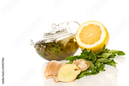 green tea with mint and ginger