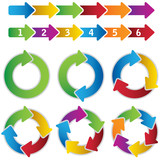 Fototapety Set of vibrant circle diagrams and chart arrows