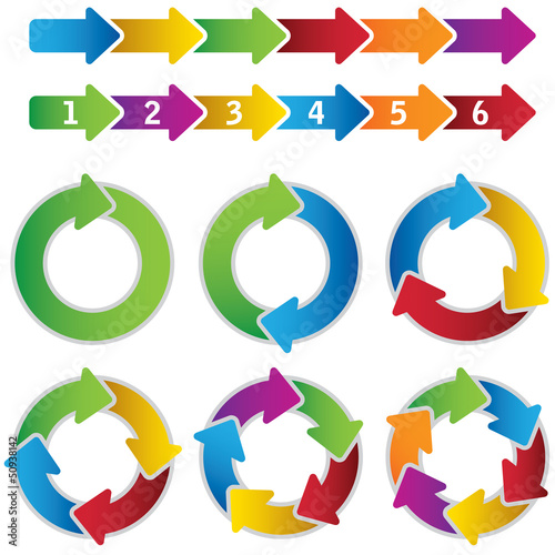 Set of vibrant circle diagrams and chart arrows