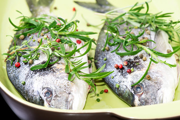Two fresh raw fishes in plate