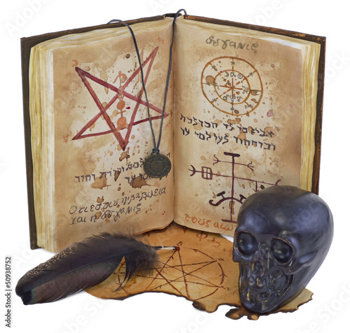 Magic book isolated vertical with skull