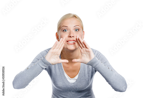Shouting woman in grey pullover, isolated on white