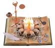 Magic book isolated with demon figurine