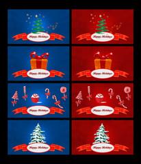 Banners natalizi colorati con icone