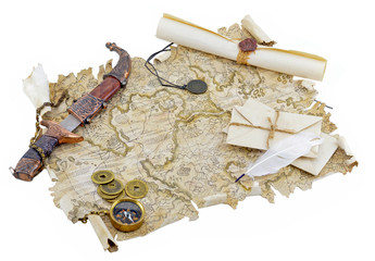 Pirate map with knife