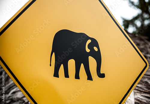 "Road sign ""caution elephants"" on the track in Thailand"