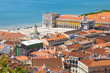 Bird view of Lisboa downtown. Commerce square and Tagus river