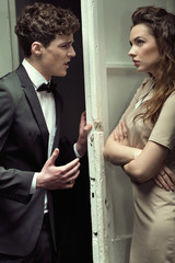 Attractive couple having a serious argument