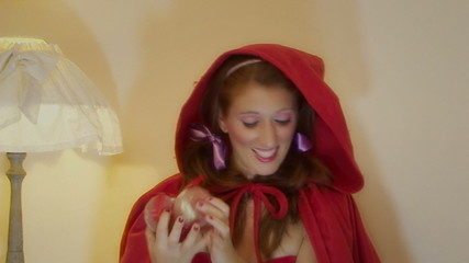 Christmas Little Red Riding Hood choosing decorations
