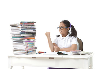 girl student and big of book on white background