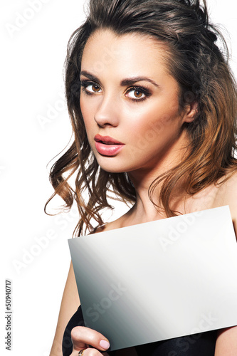 Young lady with white panel