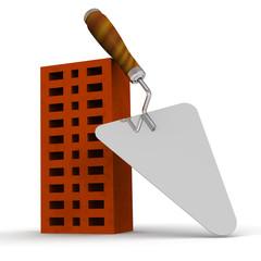 Керамический кирпич и строительный мастерок