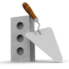 Силикатный кирпич и строительный мастерок