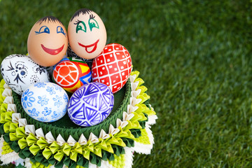 colorful eggs with funny smile