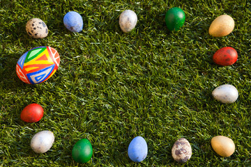 colorful egg frame on the grass