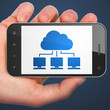 Cloud technology concept: Cloud Network on smartphone