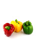 A Bell peppers Three colors on white Background.