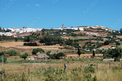 Farmland and village, Medina Sidonia, Andalusia, Spain.